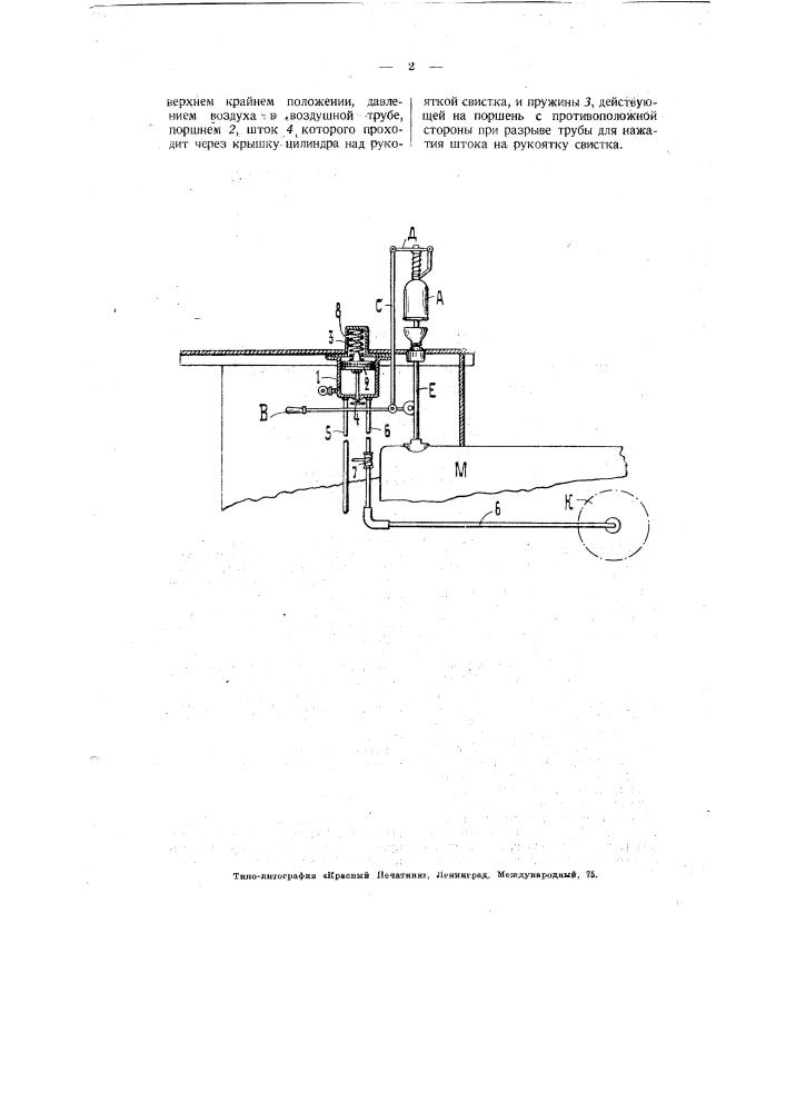 Прибор для приведения в действие паровозного свистка пневматическим путем (патент 3059)