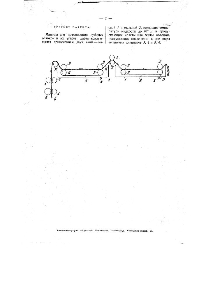 Машина для котонизации лубовых волокон и их угаров (патент 3024)