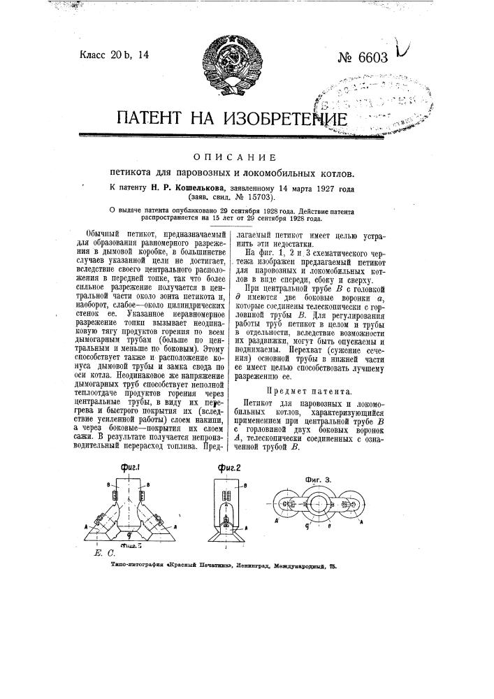 Петикот для паровозных и локомобильных котлов (патент 6603)