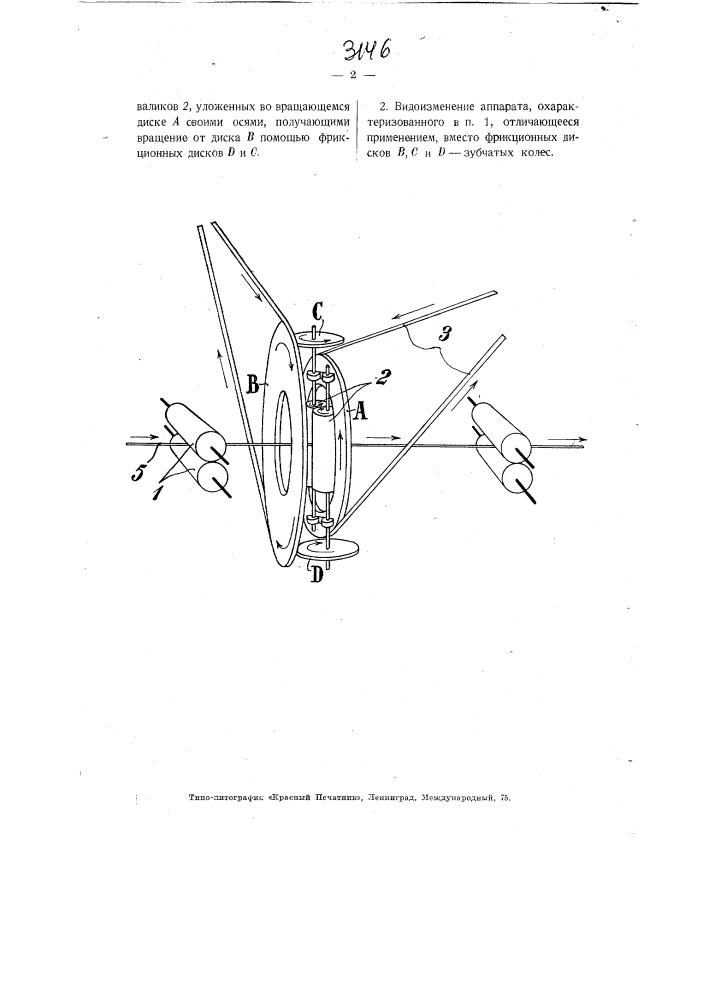 Аппарат для одновременного вытягивания и скручивания прядильных волокон (патент 3146)