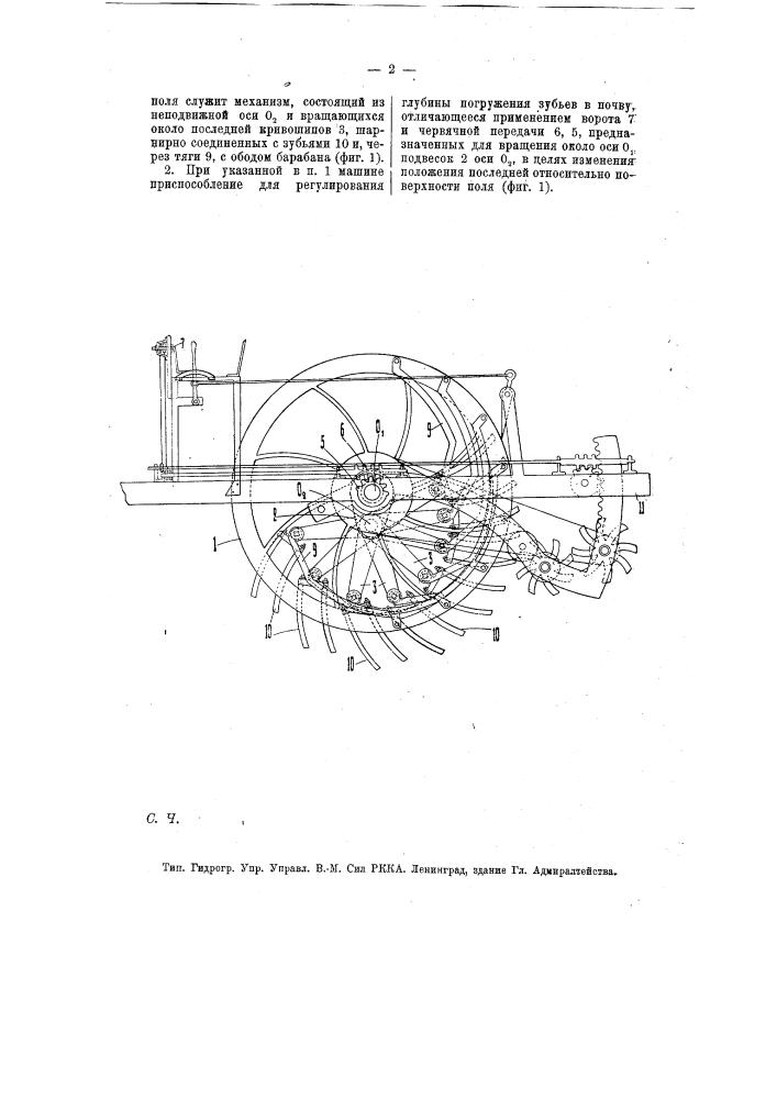 Почвообрабатывающая машина (патент 7850)