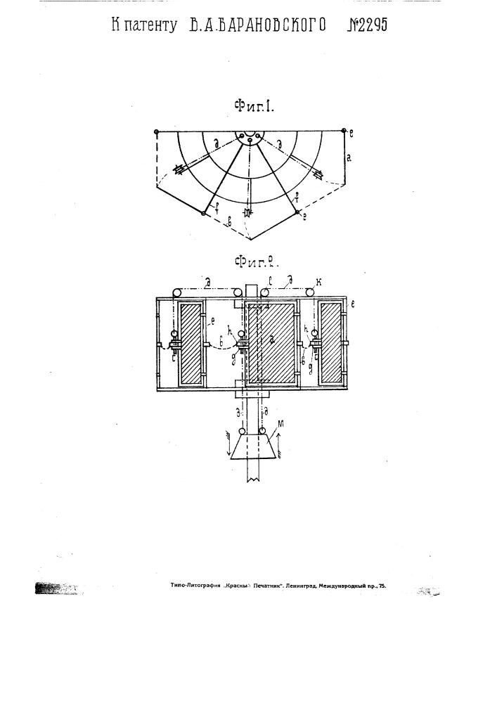 Приспособление для остановки многоклапанного ветряного двигателя с вертикальною осью (патент 2295)