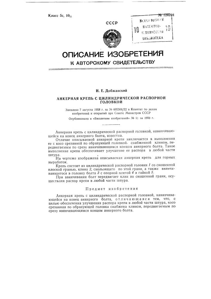 Анкерная крепь с цилиндрической распорной головкой (патент 120201)