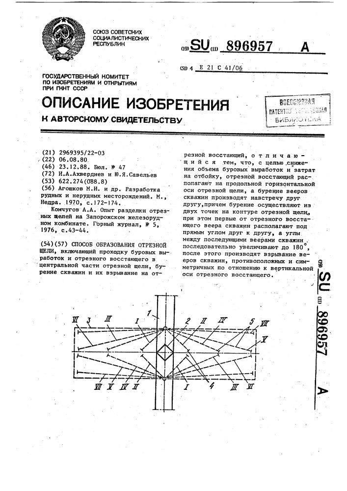 Способ образования отрезной щели (патент 896957)