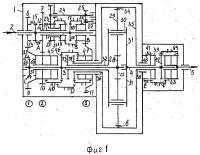 Патент 2652485 Несоосная 22-ступенчатая вально-планетарная коробка передач