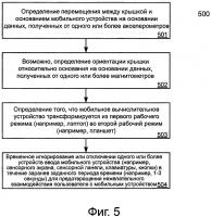 Патент 2644064 Механизм предотвращения непреднамеренного взаимодействия пользователя с трансформируемым мобильным устройством во время трансформации
