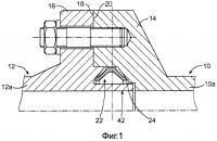 Патент 2603216 Устройство герметичной прокладки с коническим контактом в трапецеидальной канавке