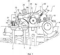 Устройство и способ для приведения в действие по меньшей мере одного выпускного клапана, управляемого с помощью клапанов двигателя внутреннего сгорания