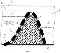 Патент 2499866 Способ подъема уровня воды в малых водотоках после дноуглубительных работ (варианты)