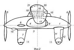 """Универсальный летательный аппарат """"пуш-пулет"""" (патент 2412869)"""