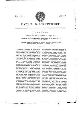 Способ получения камфоры (патент 119)