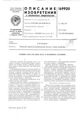 Посадки леса в поливных условиях (патент 169920)