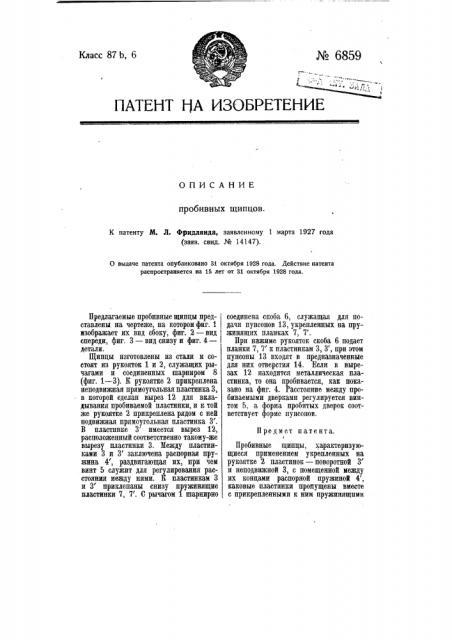 Пробивные щипцы (патент 6859)