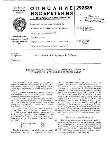 Способ автоматического контроля количества связующего в стружечно-клеевой массе (патент 292839)