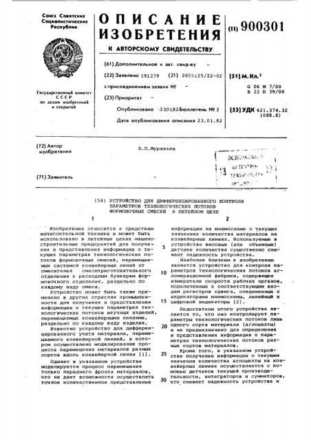 Устройство для дифференцированного контроля параметров технологических потоков формовочных смесей в литейном цехе (патент 900301)