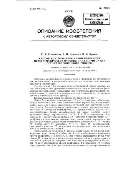 Способ контроля вершинной рефракции неастигматических очковых линз и прибор для осуществления этого способа (патент 122628)