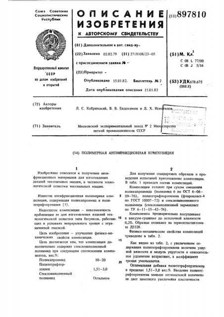 Полимерная антифрикционная композиция (патент 897810)