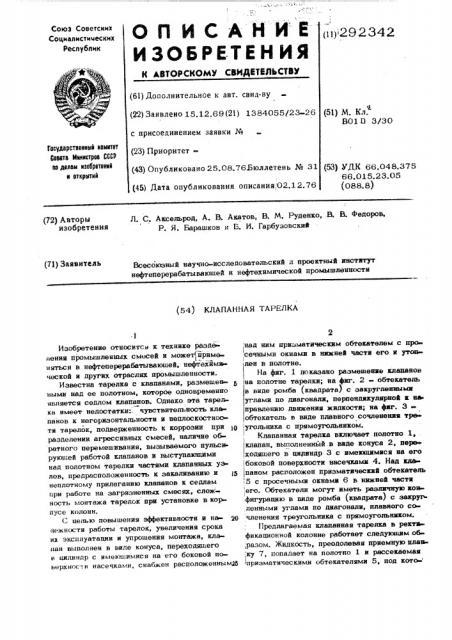 Клапанная тарелка (патент 292342)