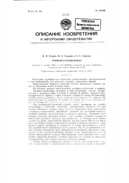 Труборез-трубоголовка (патент 123493)
