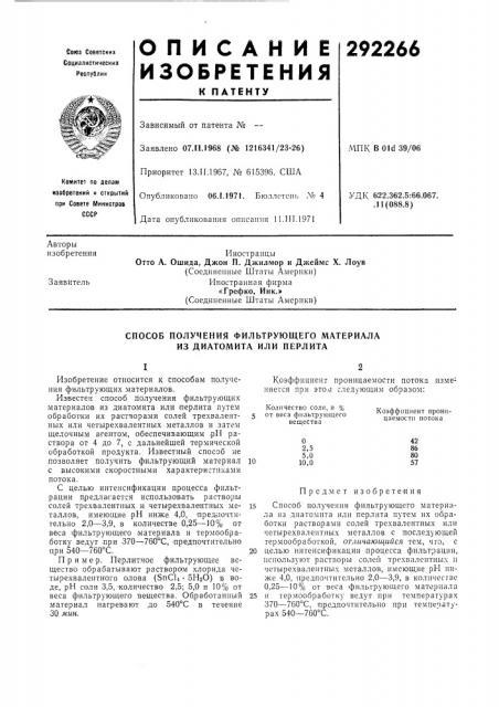 Способ получения фильтрующего материала из диатомита или перлита (патент 292266)