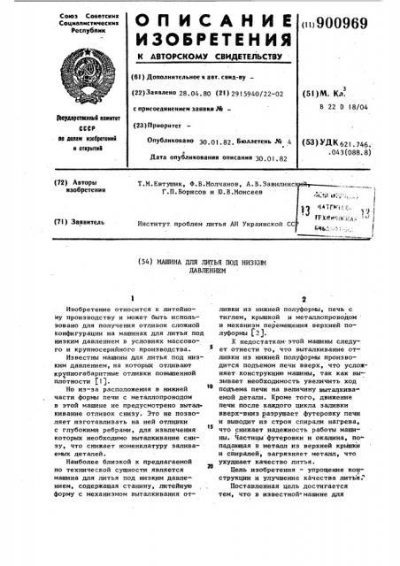 Машина для литья под низким давлением (патент 900969)