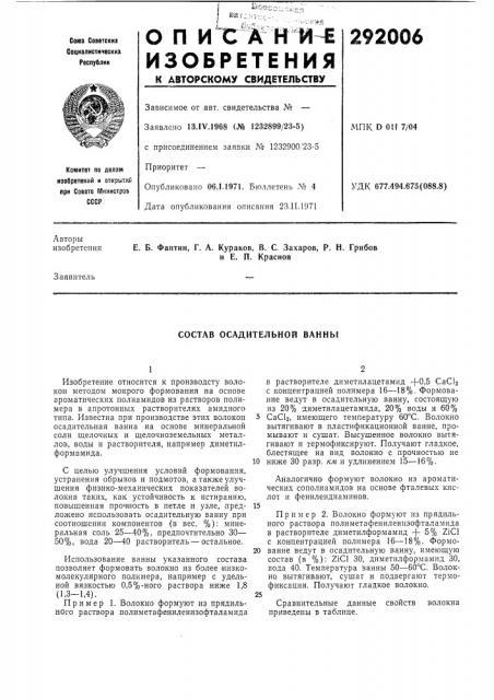 Состав осадительной ванны (патент 292006)