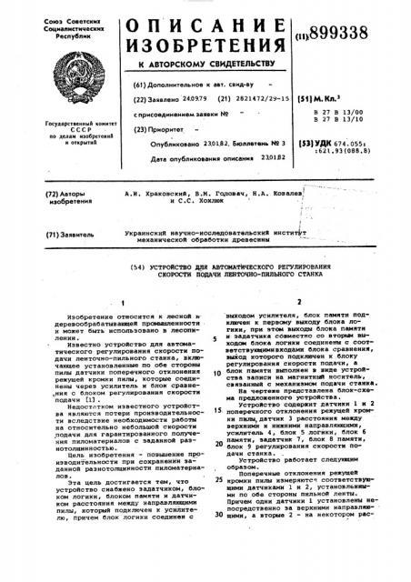 Устройство для автоматического регулирования скорости подачи ленточно-пильного станка (патент 899338)