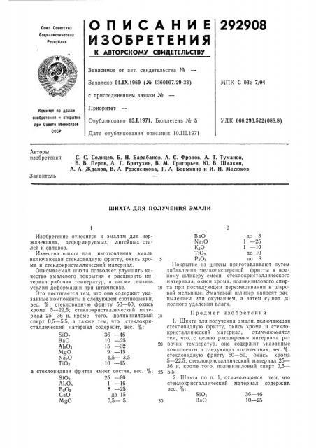 Шихта для получения эмали (патент 292908)