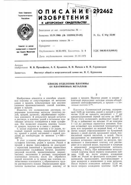 Способ отделения платины от платиновых металлов (патент 292462)