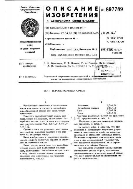 Порообразующая смесь (патент 897789)