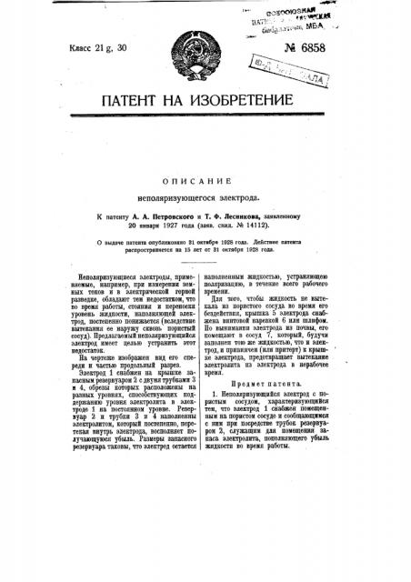 Неполяризующийся электрод (патент 6858)