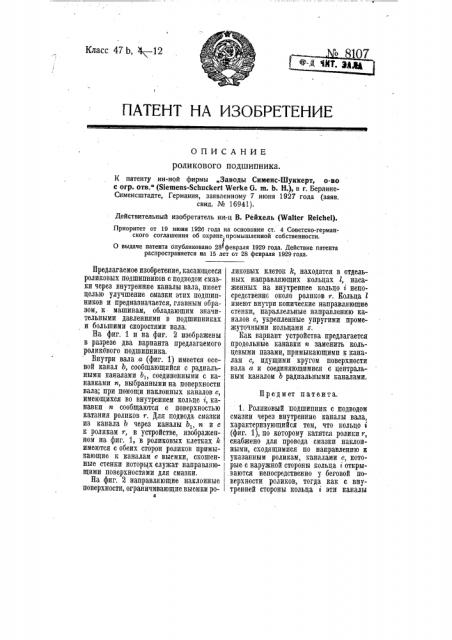 Роликовый подшипник (патент 8107)