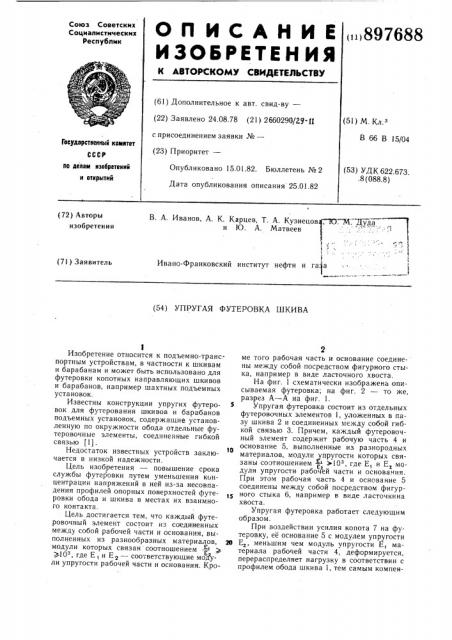 Упругая футеровка шкива (патент 897688)