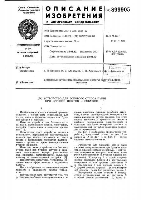 Устройство для бокового отсоса пыли при бурении шпуров и скважин (патент 899905)