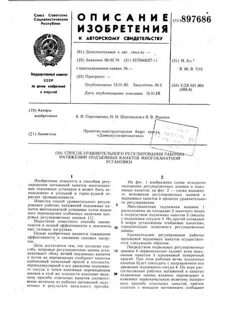 Способ уравнительного регулирования рабочих натяжений подъемных канатов многоканатной установки (патент 897686)
