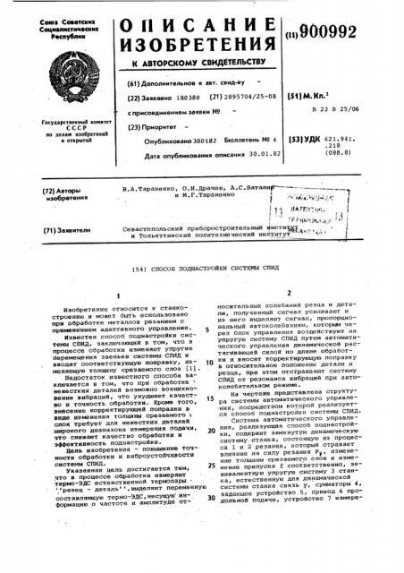 Способ поднастройки системы спид (патент 900992)