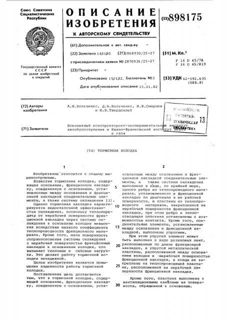 Тормозная колодка (патент 898175)